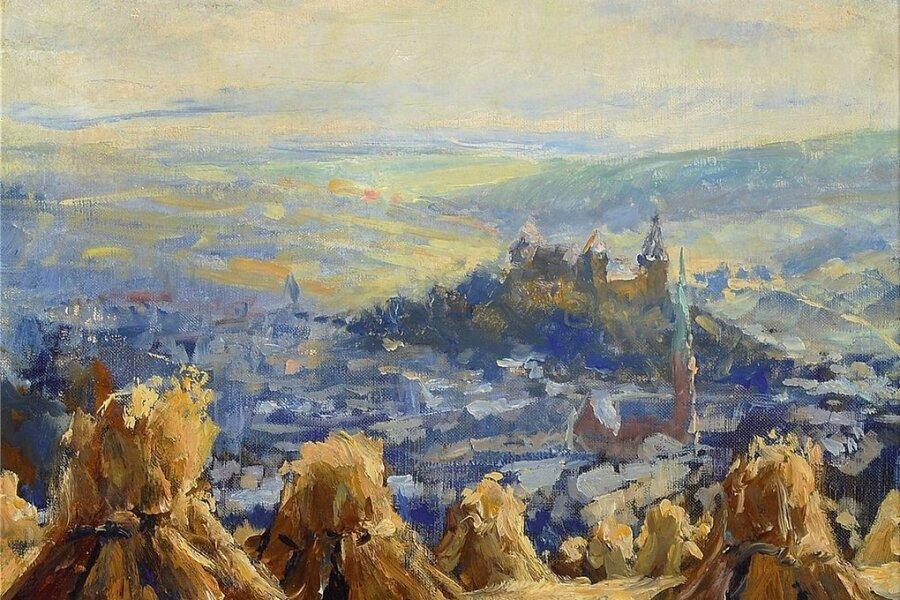 """Um dieses Gemälde geht es: """"Mylau im Vogtlande"""" von Otto Pippel."""