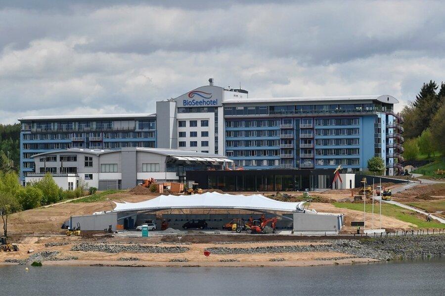 Die Seestern Panorama-Bühne in Zeulenroda, hier noch im Bau, wurde im Mai 2017 eingeweiht.