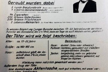 Mit diesem Plakat wurde nach dem Mörder öffentlich gefahndet.