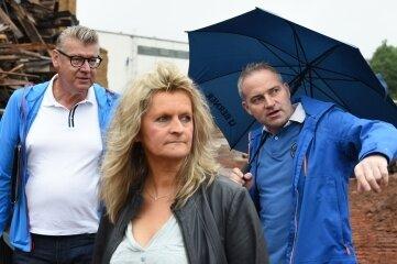 Planer Klaus Knüpfer, Stadtbaumeisterin Kerstin Zollfrank und Ebersbacher-Chef Daniel Pabel (von links).