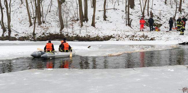 Feuerwehrleute suchten die Mulde nach der Vermissten ab.