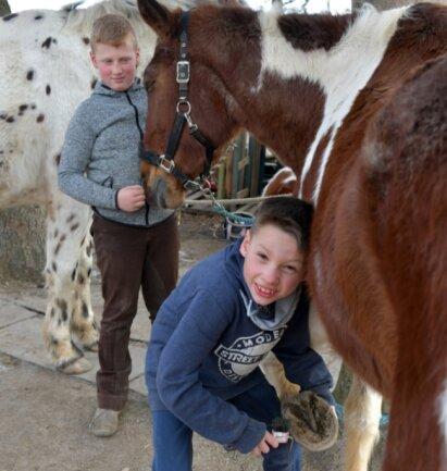 Auch das gehört zu den Arbeiten mit den Vierbeinern: Kathleen Rudas Sohn Tom (vorn) und Erik Schubert, der regelmäßig zum Reiten kommt, mit Pferd Chai bei der Hufpflege.