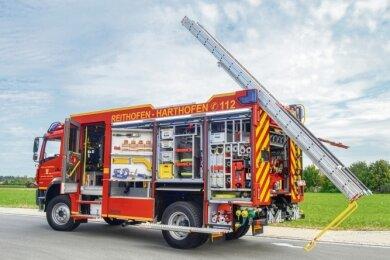 So sieht ein Hilfeleistungslöschfahrzeug HLF 20 aus.