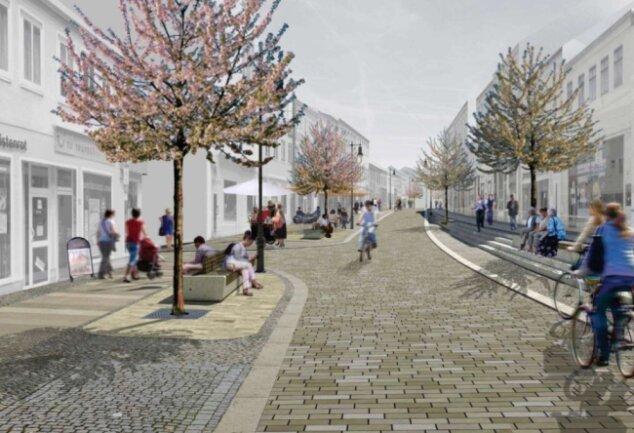 So schön soll die Rochlitzer Straße nach Vorstellung des Architekturbüros werden. Doch zuvor müssen die Geschäftsinhaber mit einer Großbaustelle vor der Ladentür leben.