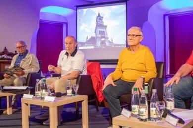 Talk-Runde auf Schloss Voigtsberg. Von links: Ekkehard Brückner, Helmut Baumann, Bernd Mädler, Günther Weller und Ronny Weller.