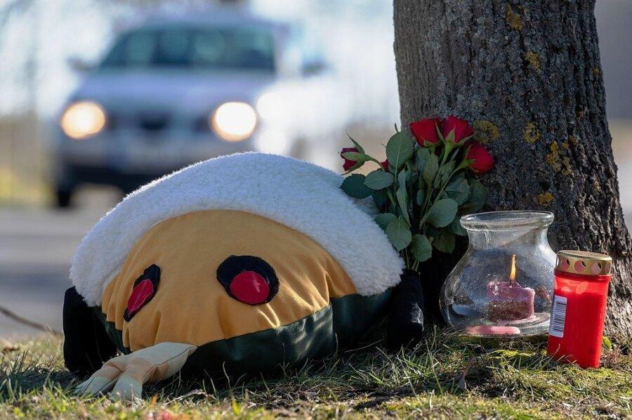 Kerzen, Blumen und ein Plüschtier sowie ein Fanschal erinnern an der Straße Am Zeißig in Penig an den tragischen Unfall, an dessen Folgen ein mit einen 15-Jährigen Mopedfahrer gestorben ist.
