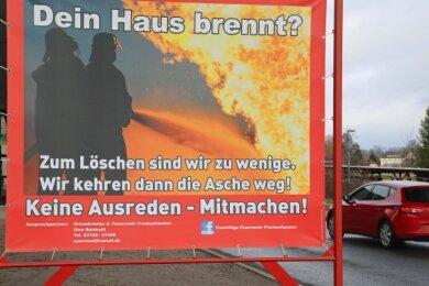 So ein Plakat der Ortsfeuerwehr wurde in der Nacht von Mittwoch zu Donnerstag in Frankenhausen gestohlen.