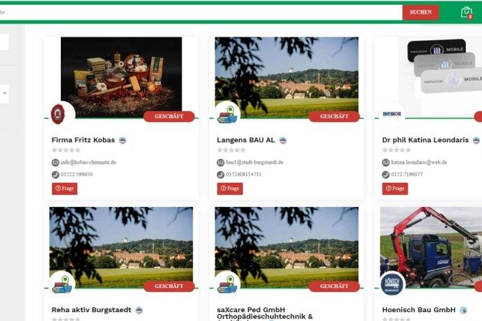 Auf der Internet-Plattform des Burgstädter Marktplatzes können Händler, Handwerker und Dienstleister ihre Waren präsentieren. Das Angebot ist nach Kategorien und Verkäufern unterteilt. Mit der Suchfunktion kann man online Waren bestellen und liefern lassen oder ins jeweilige Geschäft gehen.