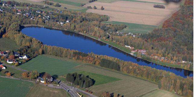 Das Naherholungsgebiet Stausee Oberwald bei Callenberg.
