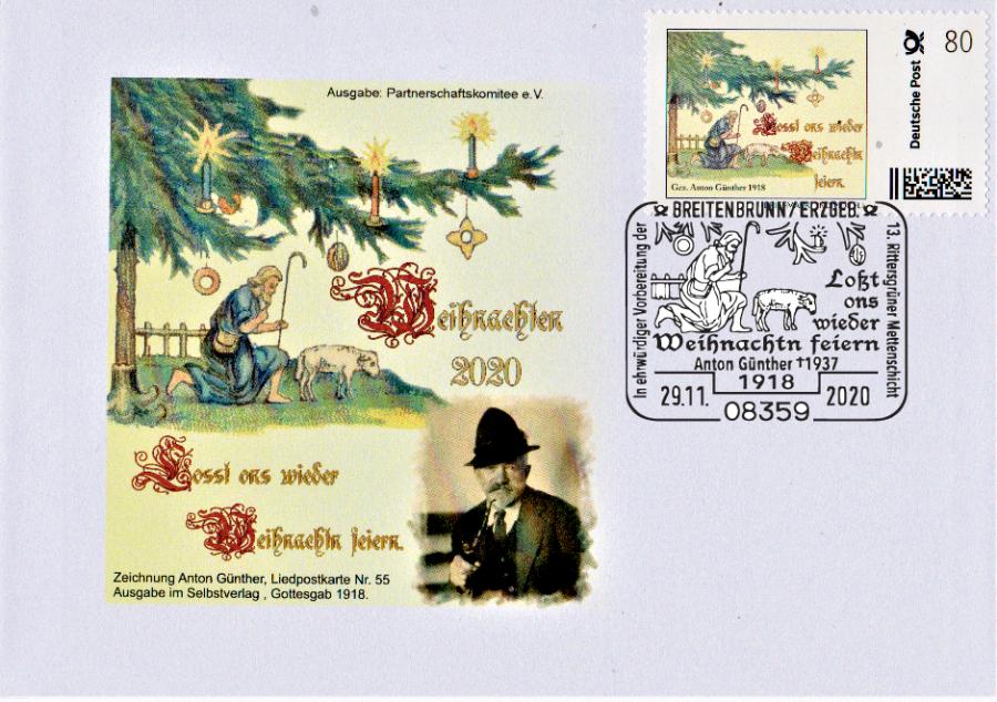 Auch dieser Brief, gedacht für Heimatbeleg-Sammler und Anton-Günther-Freunde, ist für 3,50 Euro ab 29.11.2020 zu haben, jedoch nur auf Bestellung.