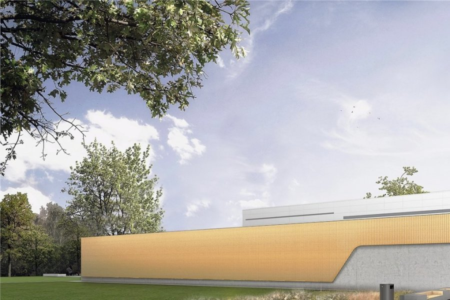 So soll die neue Sporthalle von Hartmannsdorf von außen aussehen. Baustartsoll im Mai sein.Computergrafik:  BAUCONZEPT-PLANUNGSGESELLSCHAFT MBH