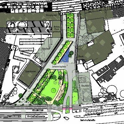 """<p class=""""artikelinhalt"""">Die Entwurfsskizze zeigt den Johannisplatz mit dem geplanten Ausbau des Grünzugs Wall, der derzeitigen Zufahrt von der Bahnhofstraße her und möglichen Bauflächen. </p>"""