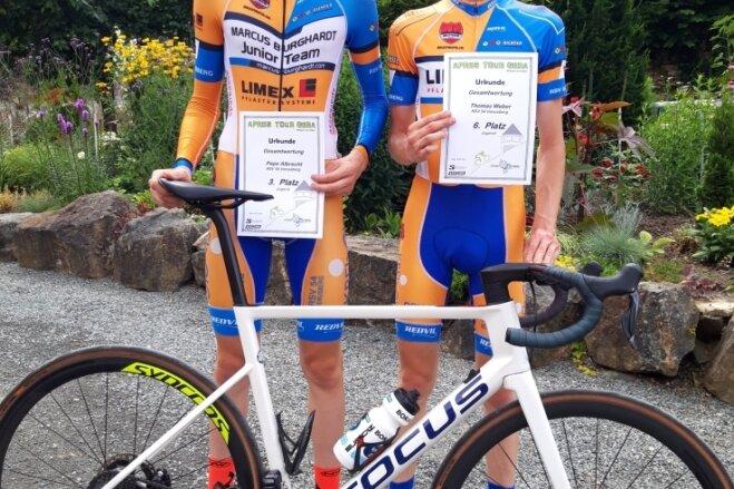 Pepe Albrecht und Thomas Weber (r.) kletterten für den RSV Venusberg in Gera auf das Siegerpodest.