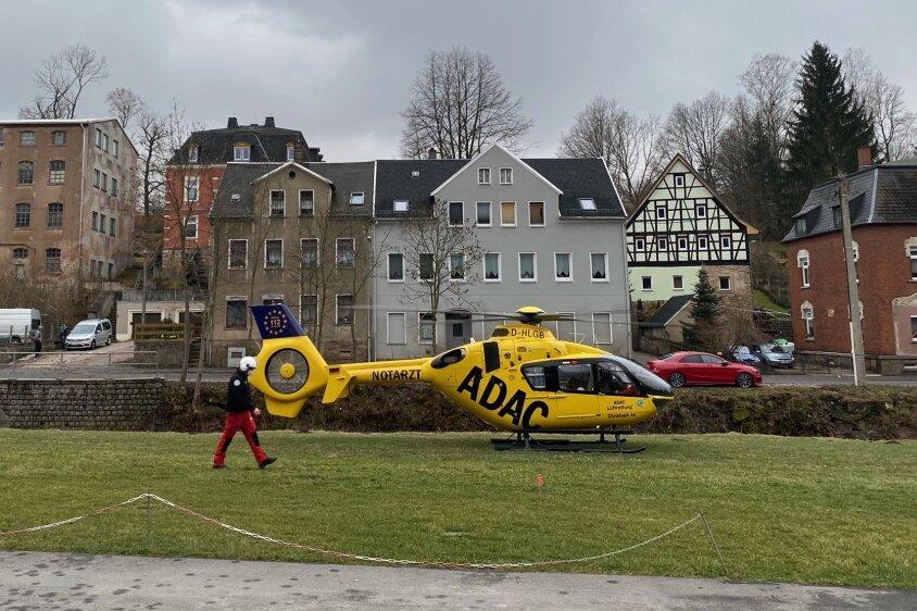 Rettungshubschrauber landet in Kirchberg