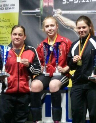Sandra Martin und Pauline Walzak gewannen Gold, Nancy Hinkelmann Bronze (von links).