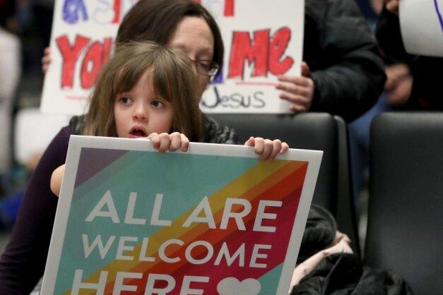 Ein demonstrativer Willkommensgruß auf einem Flughafen der USA. Anfang Februar waren in den Transitbereichen von amerikanischen Flughäfen mehr als hundert Menschen gestrandet, weil ihnen die Einreise verweigert worden war.