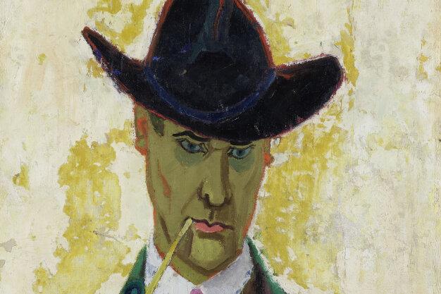 """Lyonel Feininger soll sein """"Selbstbildnis mit Tonpfeife"""" von 1910 zerknüllt und weggeworfen haben - doch es wurde, wie manch anderes, gerettet. Heute ist das Bild in Quedlinburg zu sehen."""
