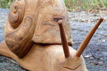 Diese riesige Schnecke ist eine von vier Spielfiguren für Kinder.