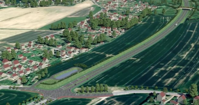 Die geplante Kreuzung Augustusburger Straße aus der Vogelperspektive. Das Wohngebiet Walter-Klippel-Straße ist auf der linken Seite zu sehen, im Hintergrund rechts oben die Fledermausbrücke mit Wanderweg.