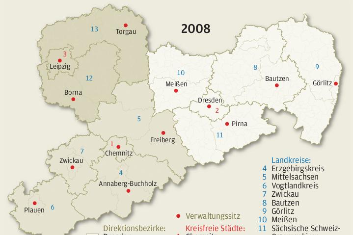 Sachsens Kreisreform hat wesentliche Ziele verfehlt