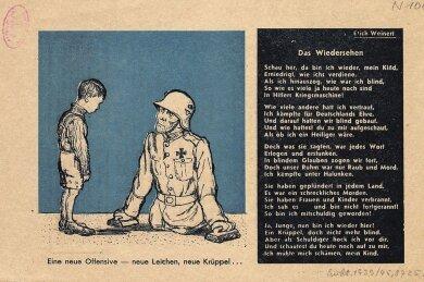 Ein sowjetisches Flugblatt aus dem Jahre 1941, auf dem der deutsche Schriftsteller und Nazigegner Erich Weinert im Auftrag der Roten Armee ein Gedicht zur Zersetzung der deutschen Truppen-Moral gedichtet hat.