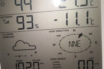 Ralf Jugel in Reimersgrün hat am gestrigen Morgen ein Foto seiner kleinen Wetterstation geschossen: Minus 11,1 Grad Celsius zeigte das Display als Außentemperatur an.