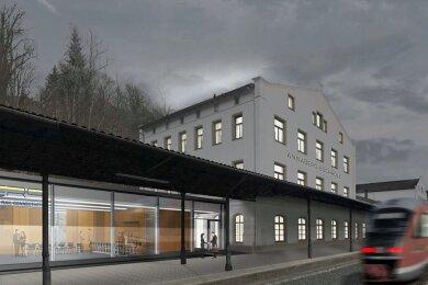 Die Zukunft: So soll der nördliche Kopfbau des Unteren Bahnhofes in Annaberg-Buchholz im Juni nächsten Jahres aussehen. Im Vordergrund sieht man den geplanten Anbau.