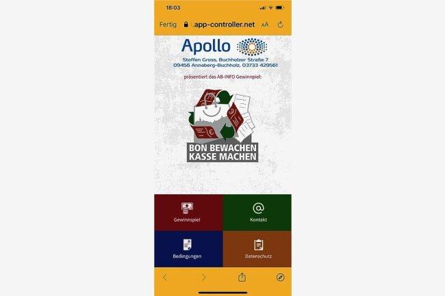 AB-Info App: Einfach auf Gewinnspiel tippen und schon kann man seinen Bon hochladen.