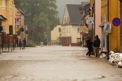 Hochwasser in Thalheim 2013.