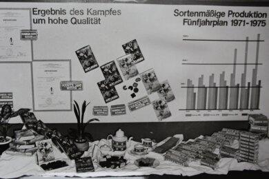 Werbung zu DDR-Zeiten: So präsentierte Hans Keks aus Brand-Erbisdorf ihre Produkte - im Hintergrund Berichte über die Planerfüllung und Qualität.