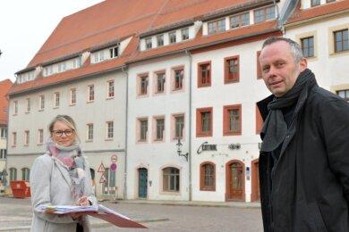 Simone und Eckehard Schab wollen am Freiberger Untermarkt eine Servicewohnanlage eröffnen.