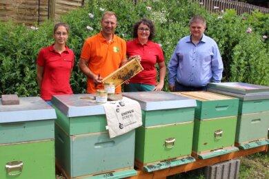 In Grün: Zehn Bienenbeuten stehen seit Mai 2020 an einem ehemaligen Betriebsgraben in Schwarzenberg-Sachsenfeld. Imker Kai Schulze (2. v. l.) erläutert Stadtwerke-Vertretern - von links Mitarbeiterin Sarah Lässig, Stabsleiterin Katrin Schneider und Geschäftsführer Sascha Wehrmann - Details.