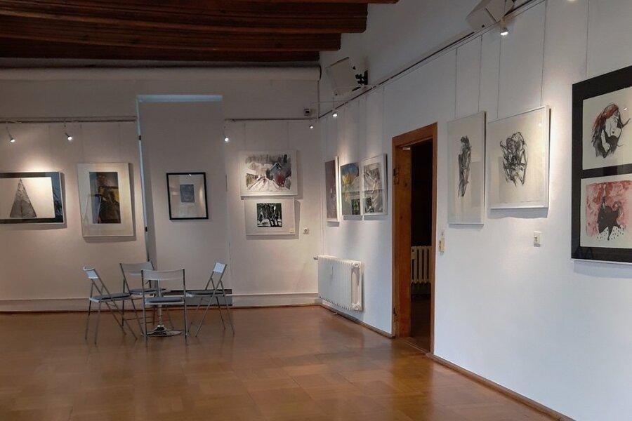 """Blick in die Galerie """"Art Gluchowe"""" im Schloss Forderglauchau. Wer sie besuchen will, braucht einen negativen Coronatest."""