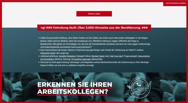 """Die Webseite zur Aktion """"Soko Chemnitz""""."""