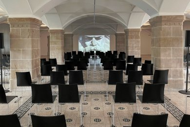 """Vorführraum der Kunstsammlungen Chemnitz beim 24-Stunden-Screening zu """"Marx""""."""