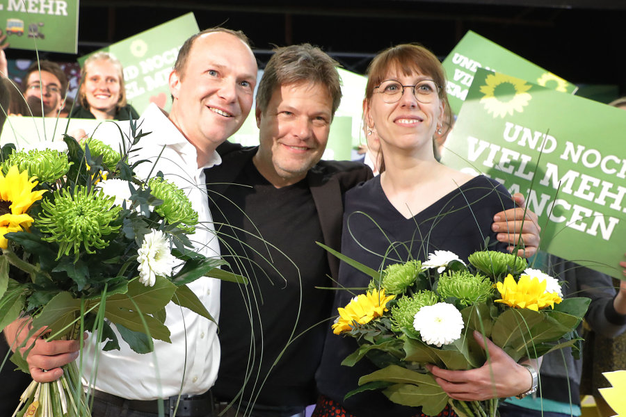Wolfram Günther, Robert Habeck und Katja Meier (v.l.).