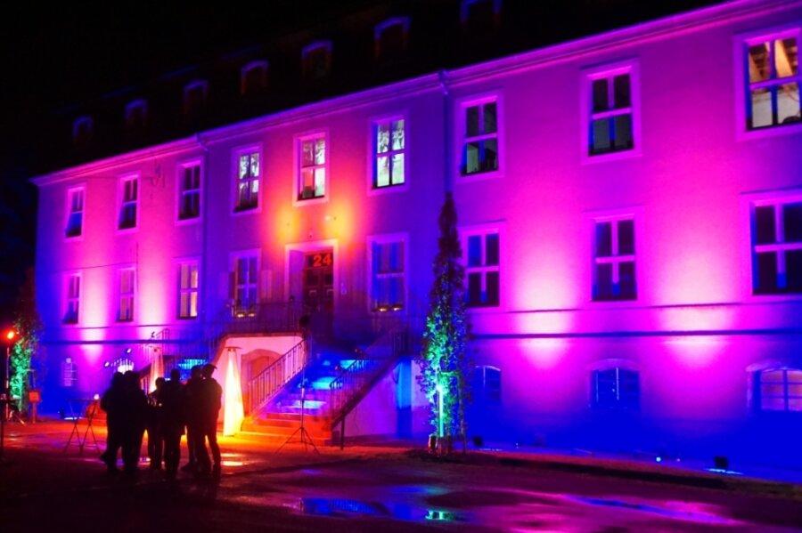 Das Schloss Ringethal bot im Scheinwerferlicht eine beeindruckende Ansicht.