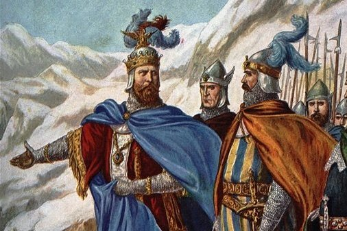 Kaiser Otto I. (912 - 973) und seine Armee in der Lombardei im September 951: Die Invasion Ottos des Großen in Italien wurde vom Illustrator und Designer Tancredi Scarpelli (1866 - 1937) in dem Buch über die Geschichte Italiens von Paolo Giudici in Szene gesetzt.