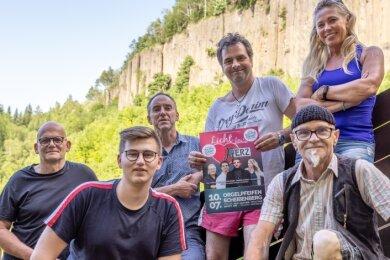 Das Organisatorenteam - Frank Beyreuther, Markus Josiger, Thomas Unger, Gabriele Fürtsch (hinten von links) sowie Linus Graupner und Jens Köhler - bei einer der letzten Absprachen an den Orgelpfeifen.