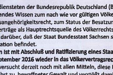 """Der Absender des Faxes: die """"Administrative Regierung Bundesstaat Sachsen Deutsches Reich/Deutschland."""""""