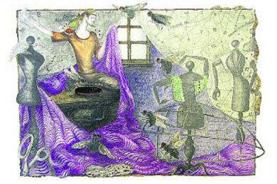 """Bildtext: Die Illustration entstand für eine 1987 veröffentlichte Ausgabe des Grimm-Märchens """"Das tapfere Schneiderlein"""". Das Original ist derzeit in Oelsnitz zu sehen, ein weiteres Blatt der Sammlung in Berlin."""