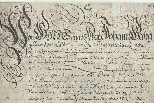 Die kurfürstliche Urkunde von 1677 fasst vorhergehende Genehmigungen für Schindlerswerk zusammen.