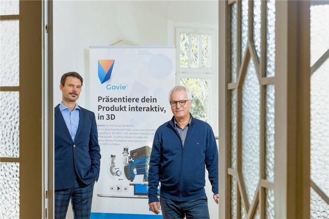 Sind stolz auf ihre einfach zu bedienende Präsentationssoftware: 3D IT-Geschäftsführer Ingolf Seifert und Henry Wojcik.
