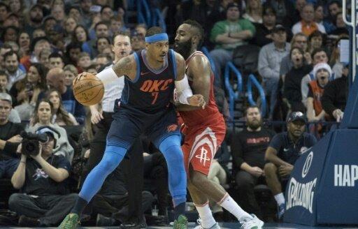 Nun Teamkollegen: Carmelo Anthony (l.) und James Harden