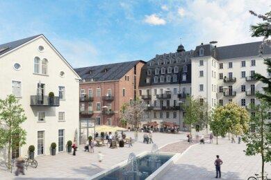 Eine Visualisierung des künftigen Marktplatzes zwischen Altbaukomplex und Oederaner Bau (links).