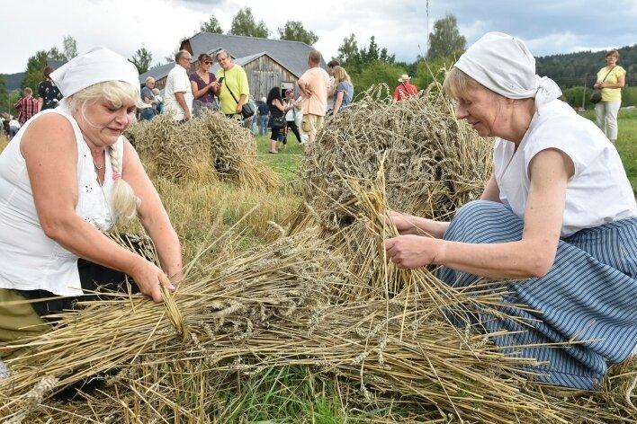 Gezeigt wurde in Eubabrunn die Ernte von Getreide. Im Foto Cornelia Lederer (links) und Angela Beier beim Binden von Strohpuppen.