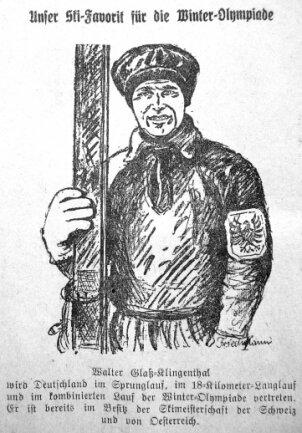 Walter Glaß 1, Klingenthals erster Olympiateilnehmer, 1928 gezeichnet von David Friedmann.
