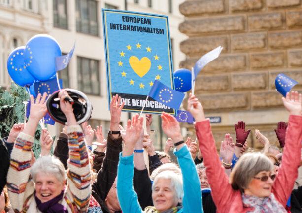 Demonstranten setzen in Hamburg ein Zeichen für die Einheit Europas.