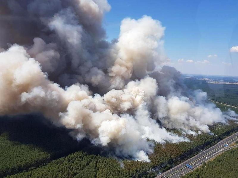 Aus einem Polizeihubschrauber ist in dem Waldstück zwischen Potsdam und Fichtenwalde ein Waldbrand zu sehen.