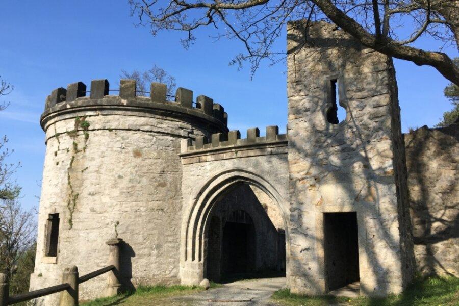 Im sogenannten Labyrinth des Hofer Bürgerparks Theresienstein steht eine künstliche Burgruine. In ihr wurde eingotisches Tor des einstigen Hofer Schlosses verbaut, das 1743 einem Stadtbrand zum Opfer fiel.